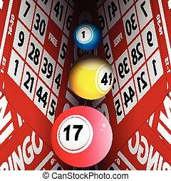 Bingo cards tunnel and bongo balls