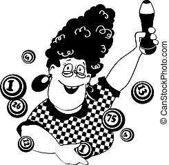 Bingo clip art - Vector line art of a funny cartoon woman...