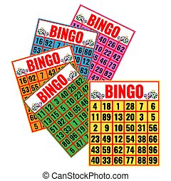Bingo colorful cards vector illustration isolated on white.