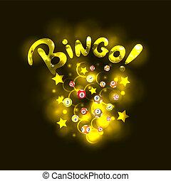 bingo, dorato, lettere, lotteria, lettering:, realistico, vettore, stelle, palle, circles., baluginante