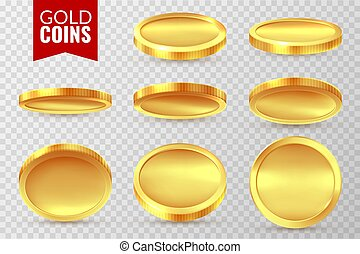 bingo, dourado, symbols., finanças, ouro, jackpot, dinheiro, set., moedas, dólar, dinheiro, isolado, realístico, vetorial, canta, cassino, moeda, pagamento