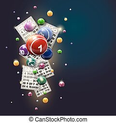bingo, experiência azul, bolas, cartões, desenho