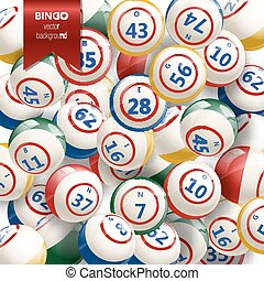 bingo, fundo, com, balls., vetorial, illustration.