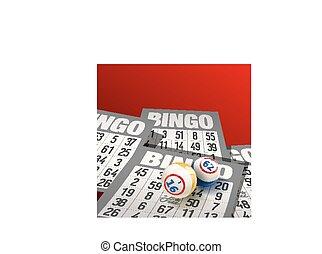 bingo, fundo, com, bolas, e, cartões