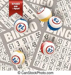 bingo, fundo, com, bolas, e, cartões., vetorial, illustration.