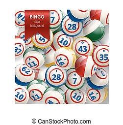 bingo, fundo, com, bolas