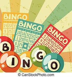 bingo, gelul, loterij, illustratie, spel, retro, kaarten, of