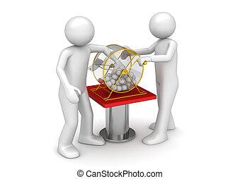 bingo, hasardspel, -, teckning, kollektion