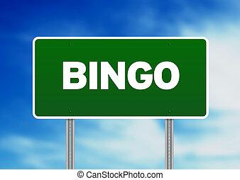 Bingo Highway Sign - Green Bingo highway sign on Cloud...