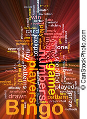 bingo, jogo, conceito, glowing, fundo