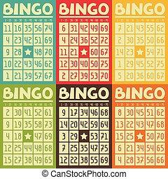 bingo, jogo, loteria, jogo, retro, cartões, ou