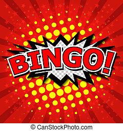 bingo!, komisch, toespraak, bubble.