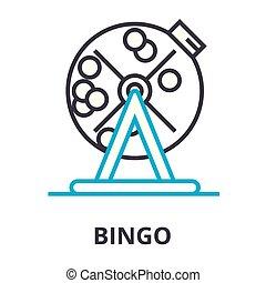 bingo, lineare, segno, simbolo, concetto, vettore, magro, illustation, icona, linea
