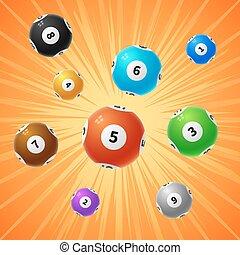 Bingo lottery balls 3d gambling vector background
