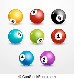 Bingo lottery balls set numbers background. Lottery game balls. Lotto winner