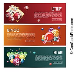 Bingo lottery online lotto game vector web banners templates set