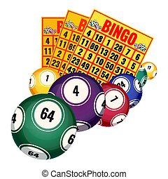 Bingo lottery tickets and balls icons realistic vector illustration isolated