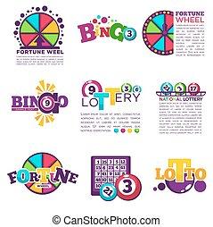 Bingo lotto lottery win vector icons set jackpot wineer numbers