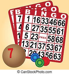 bingo, madera, conjunto, pelotas