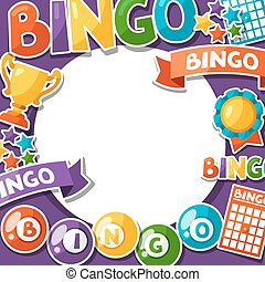 Bingo or lottery game background with balls and cards.