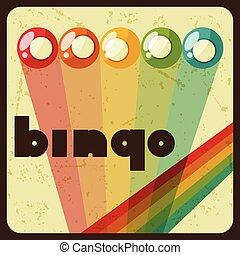 Bingo or lottery retro game illustration with balls