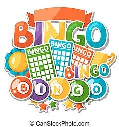 bingo, ou, loteria, jogo, fundo, com, bolas, e, cartões