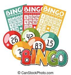 bingo, ou, loteria, jogo, ilustração, com, bolas, e, cartões