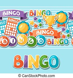 bingo, ou, loteria, jogo, seamless, padrão, com, bolas, e, cartões