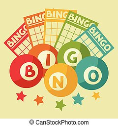 bingo, ou, loteria, retro, jogo, ilustração, com, bolas, e, cartões