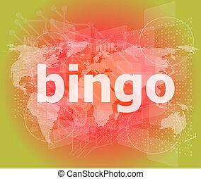 bingo, parola, su, affari, digitale, schermo tocco