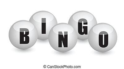 bingo, pelotas, diseño, ilustración