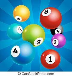 bingo, pelotas, lotería, ganador del lotto, fondo., juego, números, balls.