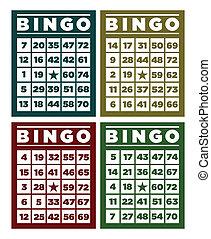 bingo, retro, cartões