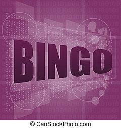 bingo, schirm, wort, digital