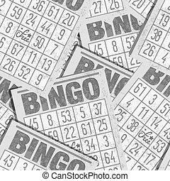 bingo, seamless, retro, fundo, com, cartões