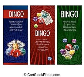 bingo, set, loterij, lotto, spel, vector, banieren