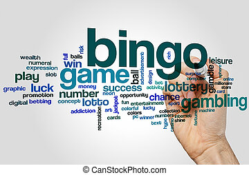 Bingo word cloud concept on grey background.
