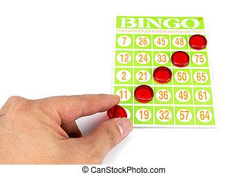 bingo, zijn, leest, splinter, winnaar, hand, spel, het putten