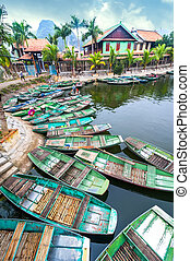 binh, vietnamita, river., vietnam, barcos, ninh