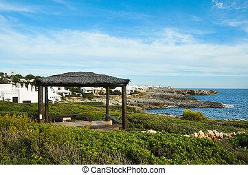binibeca, 海岸線, 中に, menorca, balearic 島, スペイン