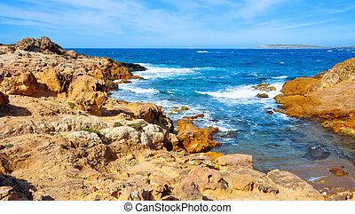 binimela, 海岸, 中に, menorca, balearic 島, スペイン