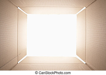 binnen, box., karton, aanzicht