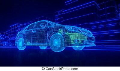 binnen, de, auto, -, draad, overzicht, uitzending, motor,...