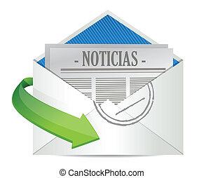 binnen, enveloppe, papier, spaanse , nieuws, open