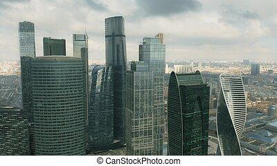 binnen, grit, wolkenkrabbers, hoogte, moderne, hoog, cityscape, luchtopnames
