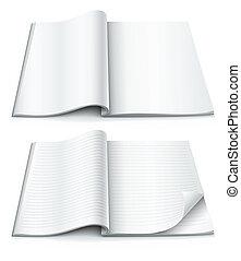 binnen, magazine, verpakte, hoek, pagina's, lege