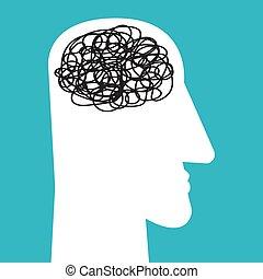 binnen, mannelijke , verward, verward, hoofd, hersenen, lijn
