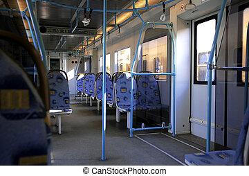 binnen van, moderne, trein
