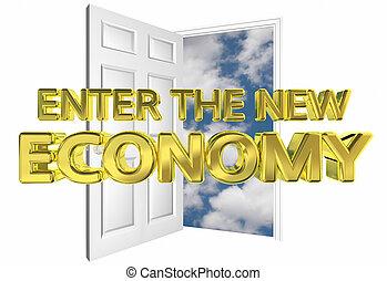 binnengaan, de, nieuw, economie, open deur, gelegenheid, 3d, illustratie