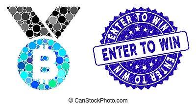 binnengaan, grunge, pictogram, postzegel, collage, medaille, winnen, bitcoin